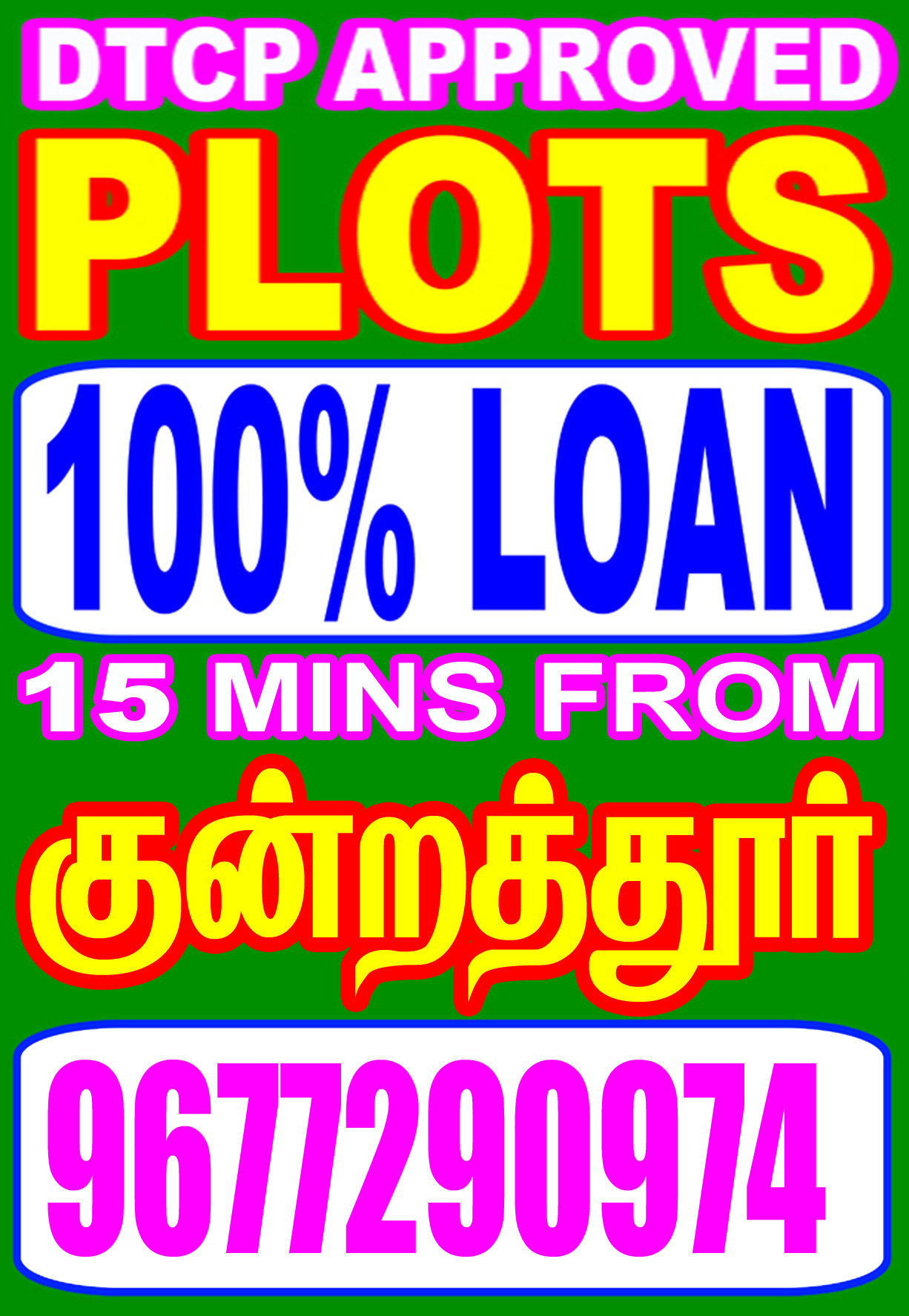 20 mins drive from poonamallee100% loan dtcp plots paris